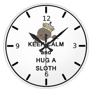 Keep Calm and Hug a Sloth Meme Large Clock