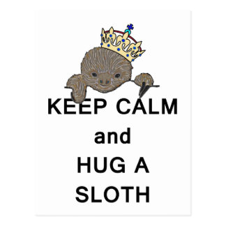 Keep Calm and Hug a Sloth Meme Postcard