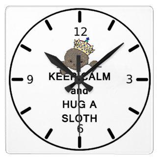 Keep Calm and Hug a Sloth Meme Square Wall Clock