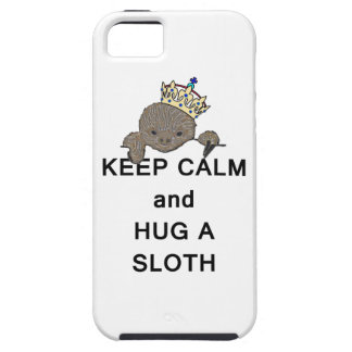Keep Calm and Hug a Sloth with Crown Meme iPhone 5 Case