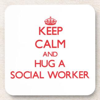 Keep Calm and Hug a Social Worker Coaster