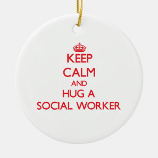 Keep Calm and Hug a Social Worker Double-Sided Ceramic Round Christmas Ornament