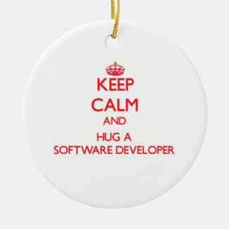 Keep Calm and Hug a Software Developer Christmas Ornaments