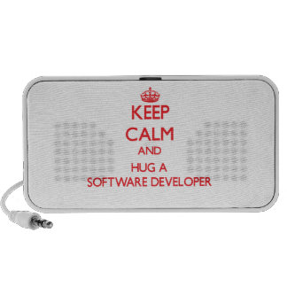 Keep Calm and Hug a Software Developer Laptop Speakers