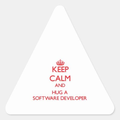 Keep Calm and Hug a Software Developer Triangle Sticker