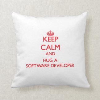 Keep Calm and Hug a Software Developer Throw Pillow
