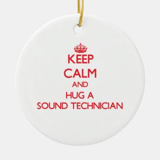 Keep Calm and Hug a Sound Technician Double-Sided Ceramic Round Christmas Ornament