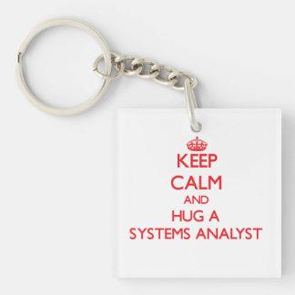Keep Calm and Hug a Systems Analyst Single-Sided Square Acrylic Keychain
