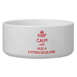 Keep Calm and Hug a Systems Developer Dog Water Bowl