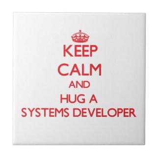 Keep Calm and Hug a Systems Developer Ceramic Tiles