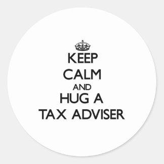 Keep Calm and Hug a Tax Adviser Round Stickers