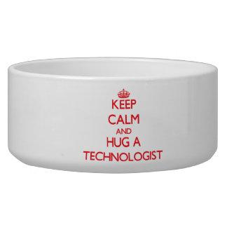 Keep Calm and Hug a Technologist Dog Food Bowls