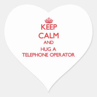 Keep Calm and Hug a Telephone Operator Heart Sticker