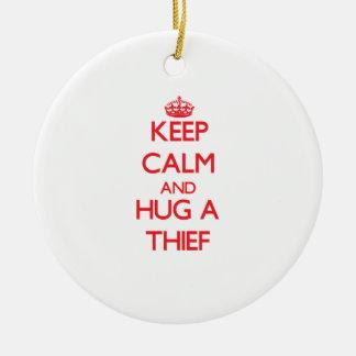 Keep Calm and Hug a Thief Double-Sided Ceramic Round Christmas Ornament