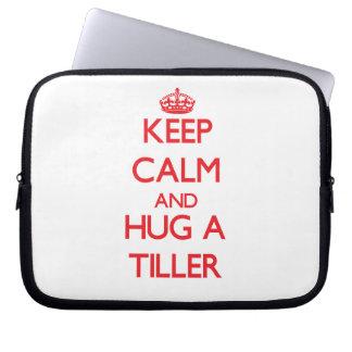 Keep Calm and Hug a Tiller Laptop Sleeves