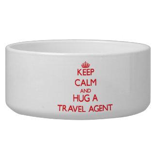 Keep Calm and Hug a Travel Agent Pet Food Bowls