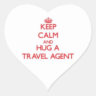 Keep Calm and Hug a Travel Agent Heart Sticker