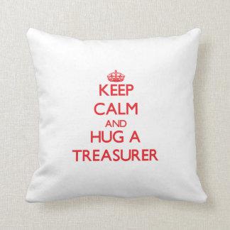 Keep Calm and Hug a Treasurer Throw Pillows