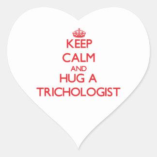 Keep Calm and Hug a Trichologist Heart Stickers
