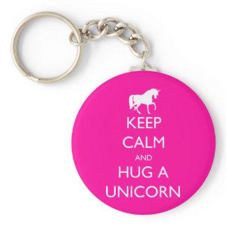 Keep Calm and Hug a Unicorn Keychain