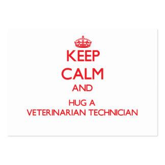 Keep Calm and Hug a Veterinarian Technician Business Card Templates