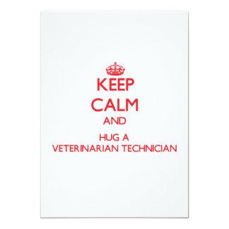 Keep Calm and Hug a Veterinarian Technician 5x7 Paper Invitation Card