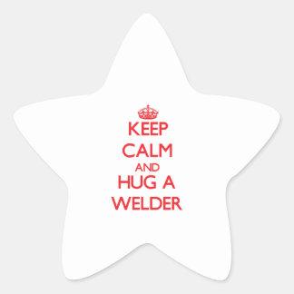 Keep Calm and Hug a Welder Star Stickers