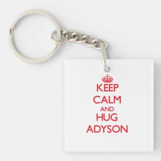 Keep Calm and Hug Adyson Square Acrylic Keychains
