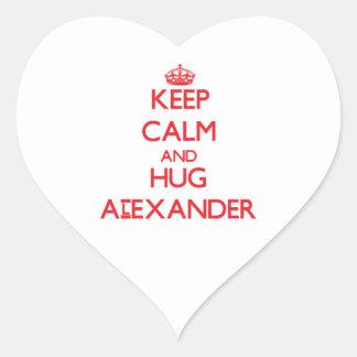 Keep calm and Hug Alexander Heart Sticker