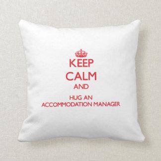 Keep Calm and Hug an Accommodation Manager Throw Pillows