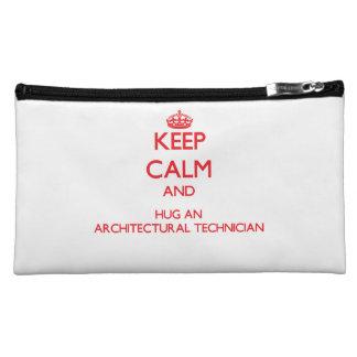 Keep Calm and Hug an Architectural Technician Makeup Bags