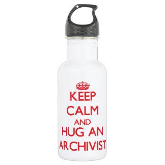 Keep Calm and Hug an Archivist 18oz Water Bottle