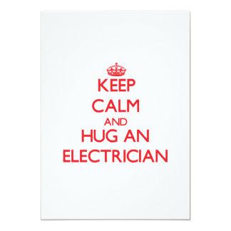 Keep Calm and Hug an Electrician 5x7 Paper Invitation Card