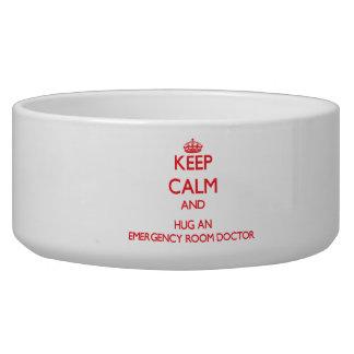 Keep Calm and Hug an Emergency Room Doctor Dog Food Bowls