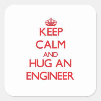 Keep Calm and Hug an Engineer Square Sticker