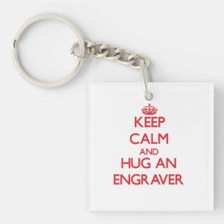 Keep Calm and Hug an Engraver Double-Sided Square Acrylic Keychain