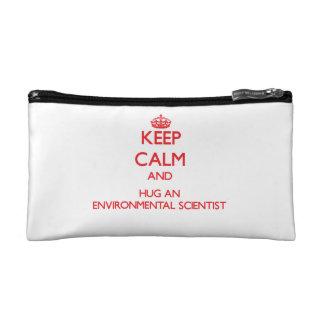Keep Calm and Hug an Environmental Scientist Makeup Bags