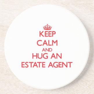 Keep Calm and Hug an Estate Agent Drink Coaster