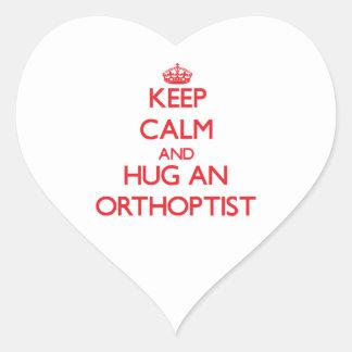 Keep Calm and Hug an Orthoptist Heart Stickers