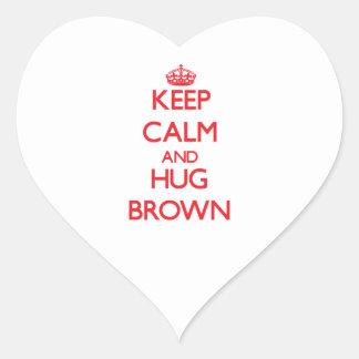 Keep calm and Hug Brown Heart Stickers