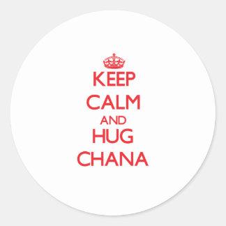 Keep Calm and Hug Chana Classic Round Sticker