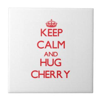 Keep calm and Hug Cherry Ceramic Tile