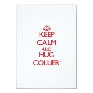 Keep calm and Hug Collier 5x7 Paper Invitation Card