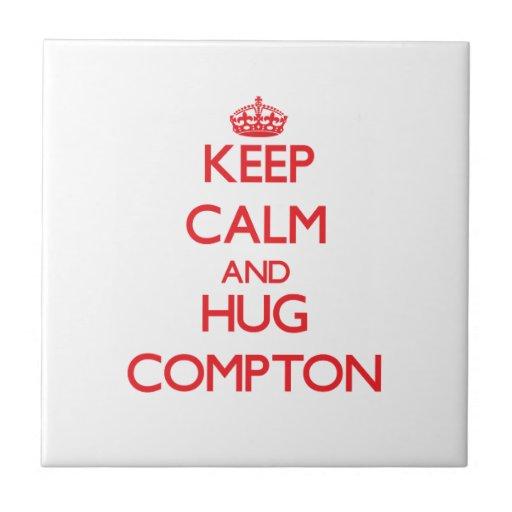 Keep calm and Hug Compton Small Square Tile