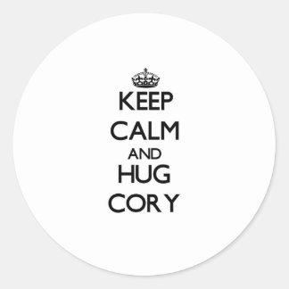Keep Calm and Hug Cory Round Sticker