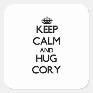 Keep Calm and Hug Cory Square Sticker