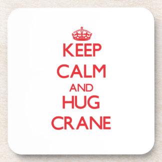 Keep calm and Hug Crane Beverage Coasters