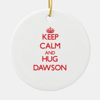 Keep calm and Hug Dawson Double-Sided Ceramic Round Christmas Ornament