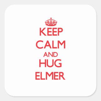 Keep Calm and HUG Elmer Square Stickers