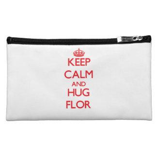 Keep Calm and Hug Flor Cosmetic Bags